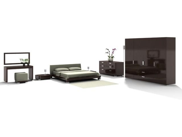 3d max modern bedroom bed dresser