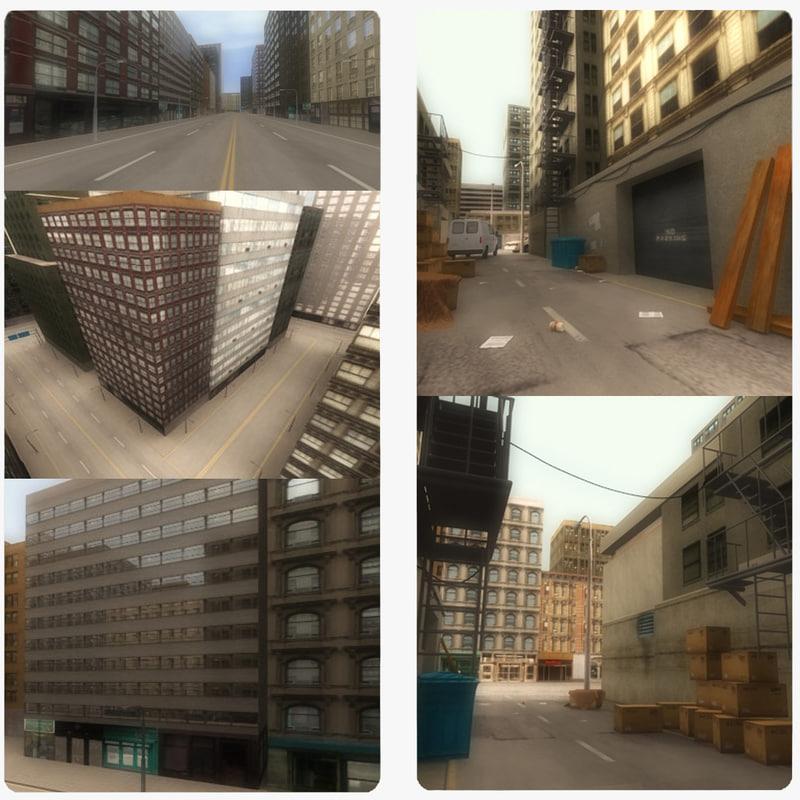 alley scene street city 3d model