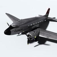 douglas dc-3 c-47 plane 3d model