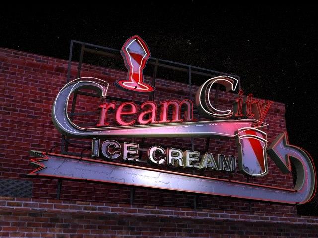 3ds max ice cream neon sign