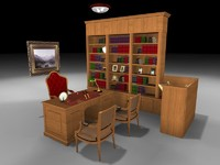 library desk chairs 3d max