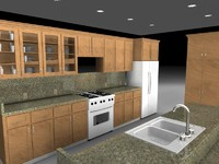 kitchen stove refrigerator 3d model