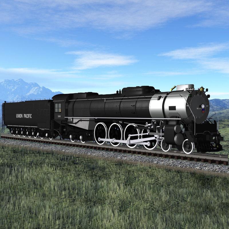 3d steam locomotive fef-4-8-4 train model