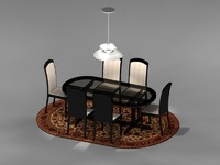 dining room table chairs 3d max