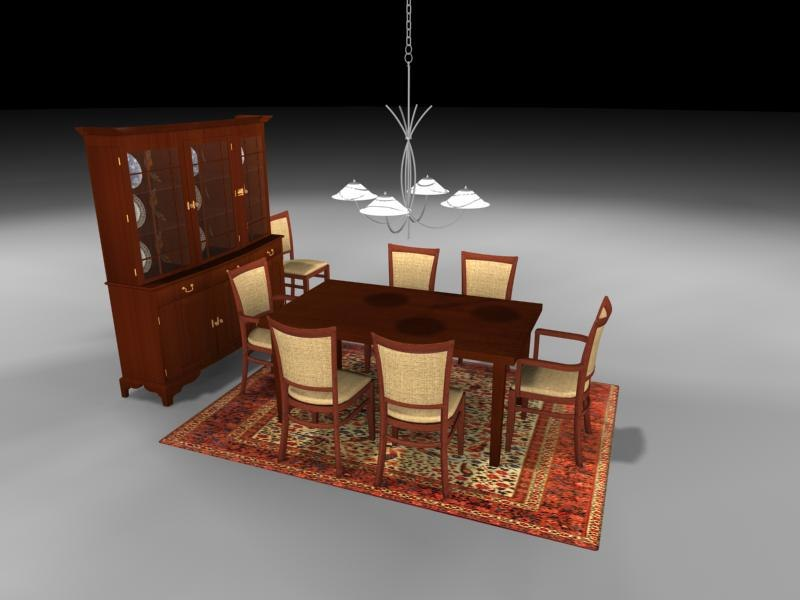 dining room table chairs 3d 3ds