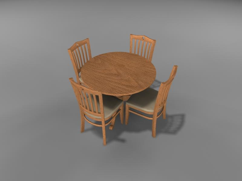 3d max dining room table chairs