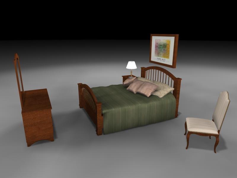 3d model bedroom bed
