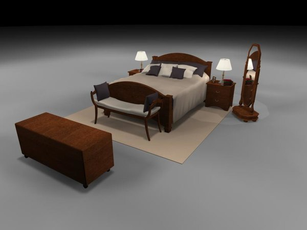 3d bedroom bed table rug