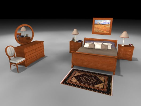 bedroom bed table dresser 3d max