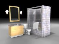 3d model bathroom tub shower faucet