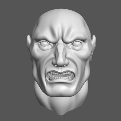 3d angry male head model