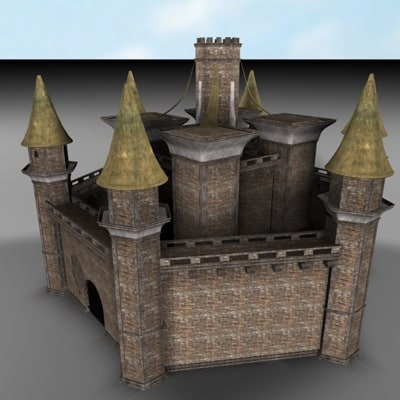 3d model fortress brick