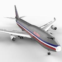 747-400 airliner american 747 jumbo 3d 3ds