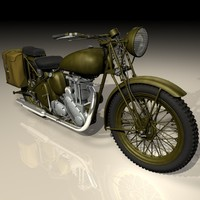 3d ww2 triumph motorcycle model