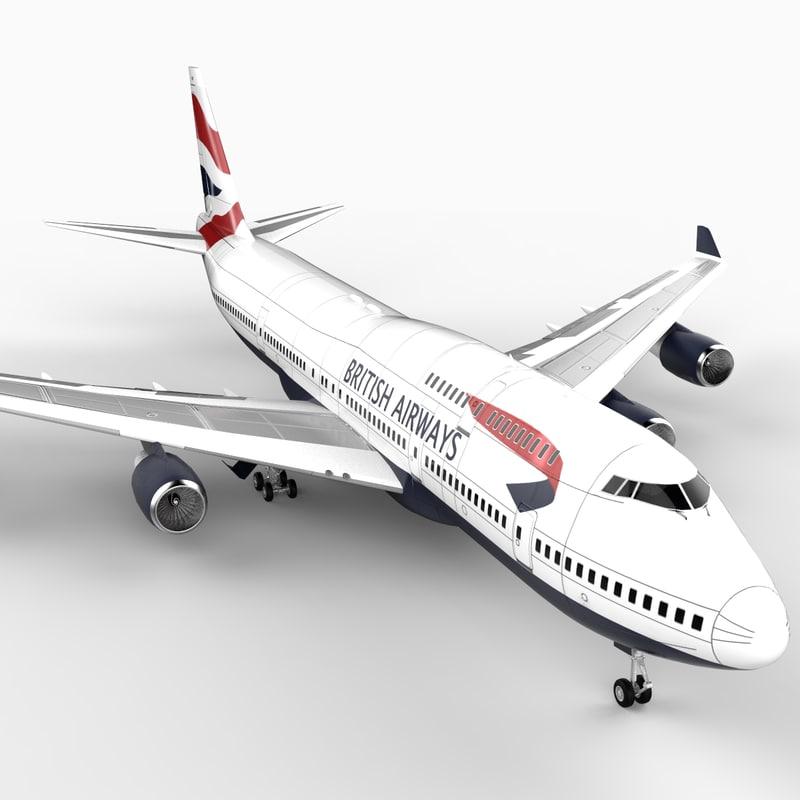 3d 747-400 airliner british airways model