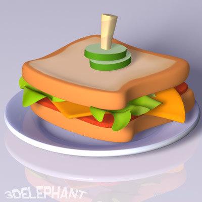 toon-style sandwich 3d lwo