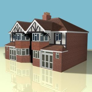 3d semi detached house model