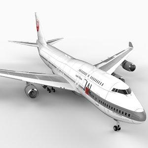 3d model 747-400 airliner jal 747 jumbo
