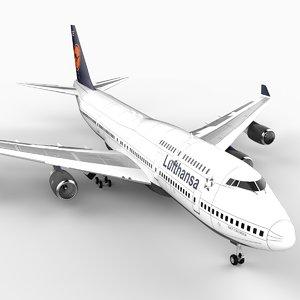747-400 airliner lufthansa 747 jumbo 3d model
