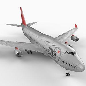 3d model 747-400 airliner northwest 747 jumbo