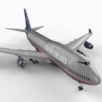 747-400 airliner united 747 jumbo 3d model