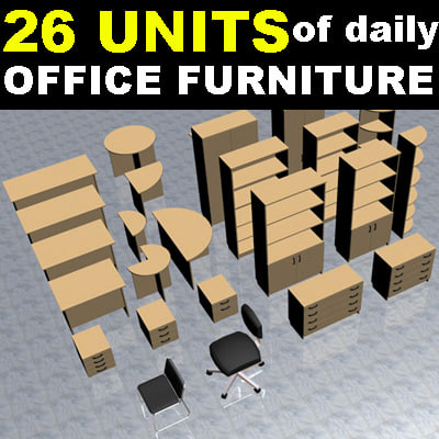 3d model daily office furniture