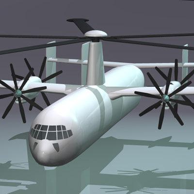 3d model blade vtol plane gyrolifter