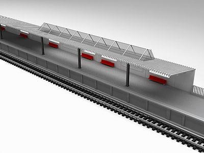 uni-track sided railway station 3d model