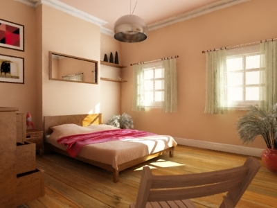 bed bedside table 3d model
