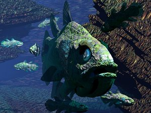 3ds coelacanth living fossil fish
