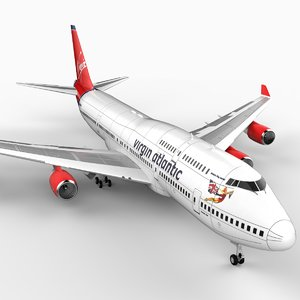 3d 747-400 airliner virgin 747 jumbo model
