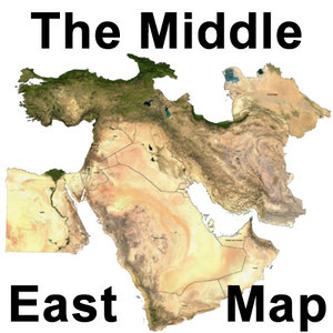 topographic middle east 3d model