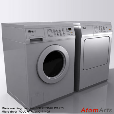 washing machine dryer miele 3d model