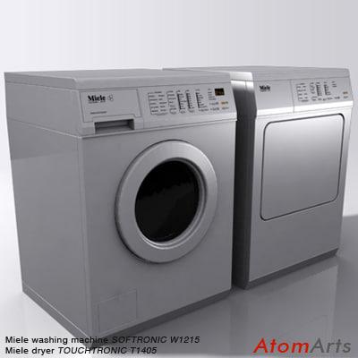 washing machine dryer miele 3d model