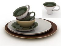 Plate, bowl and cups