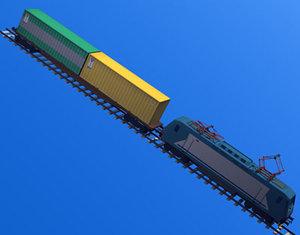 3d european train engine cargo model