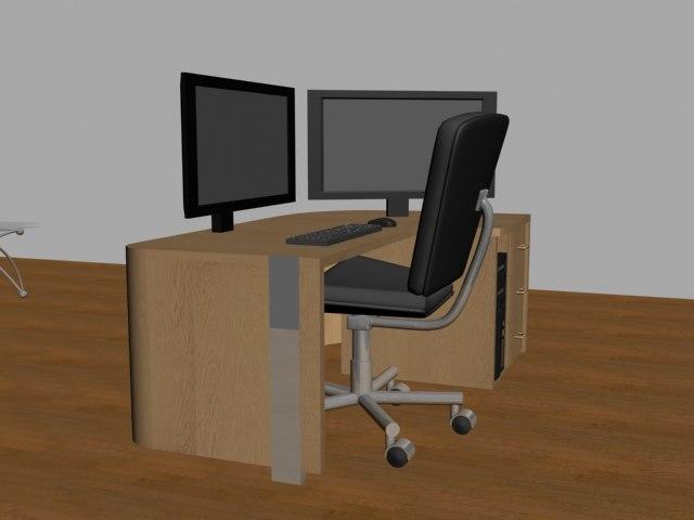 3d office home computer desk