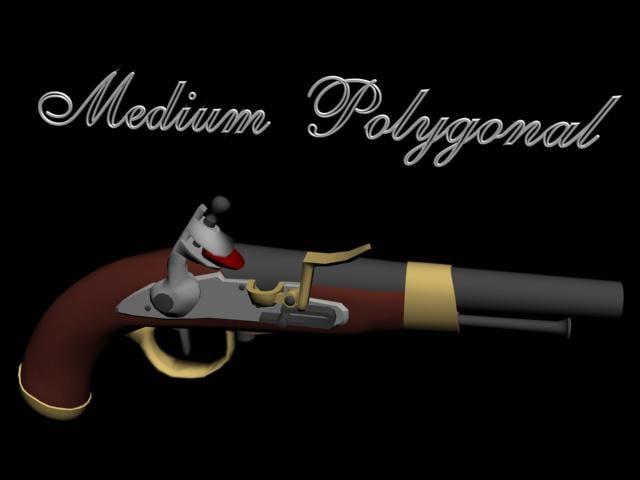 belgian military flintlock pistol 3d model