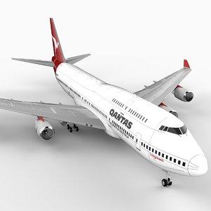 747-400 airliner qantas 747 jumbo 3d lwo