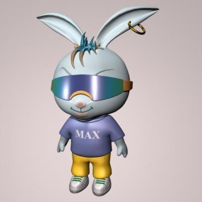 3d bunny punk character model