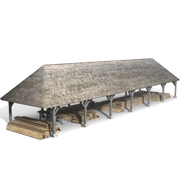 wood drying shed 3d model