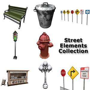 street signs bench trash 3d model