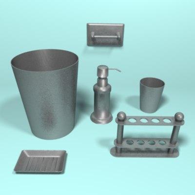 brushed metal bathroom set 3d model