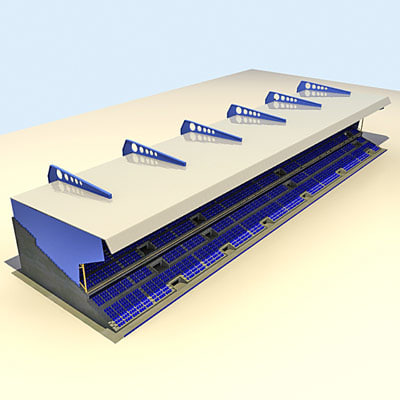 3d model of stadium grandstand stand