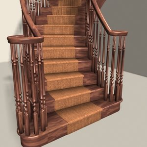 3ds max curved staircase