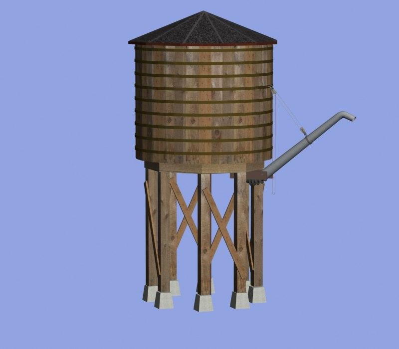 3d railroad water tower model
