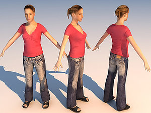 character casual girl 15 3d model