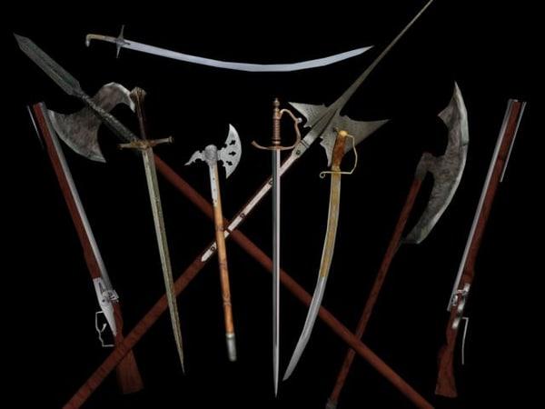 10 weapons halberd rapier 3d max