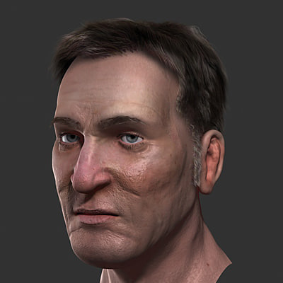 3d realistic human head skin model