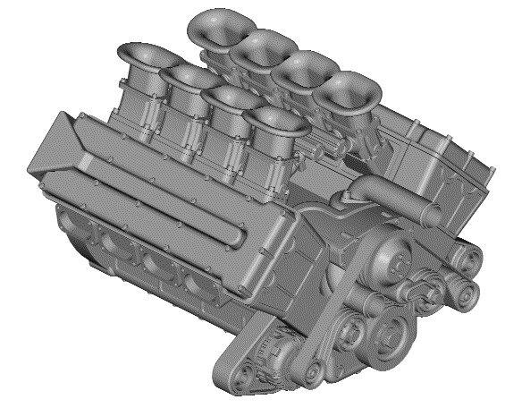 3d v8 engine model